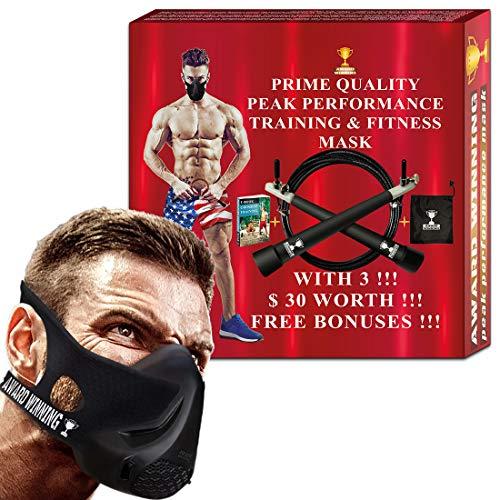 Training Fitness Mask- Workout Mask - High Altitude Elevation Simulation- Peak Resistance - Peak Performance -For Running- Endurance Exercise-Cardio-Jogging- Gym –MMA- HIIT– Free Bonus Speed Jump Rope by AWARD-WINNIG