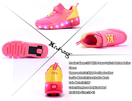 Mr.Ang con Luces LED Coloridos Parpadeante Neutra ruedas de Patines de Rueda Patín Zapatos Zapatos del Patín Zapatos Deportivos Niños y Niñas de Calzado Deportivo Zapatos de Skate K06 Rosa Amarillo