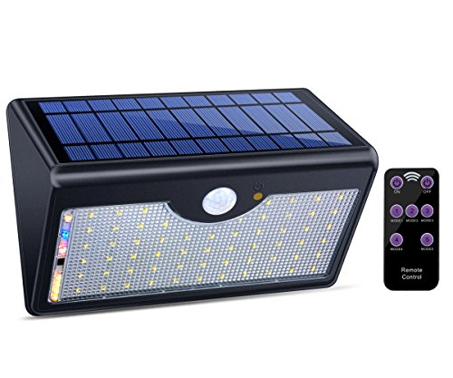 Solar Lights Outdoor with Remote Control, 1300LM 60 LED W...
