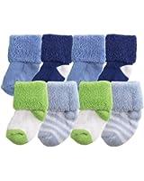 Luvable Friends 8-Pack Newborn Socks in Washbag, Blue