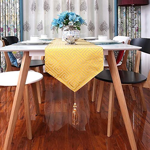 Wxiao Fashion Classic Blue Table Runners Home Decor Party Gifts Tassel Bed Table Cloth Color Yellow Size 32220cm Party Supplies Toys Games