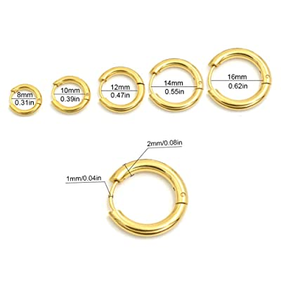 Details about  /18K Yellow Gold Filled Tarnish-Resistant Medium-Size 5mm Flat Hoop Earrings ZG2Y