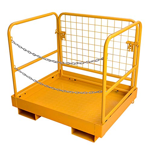 "Wifond 36x29"" Forklift Safety Cage Tensile Steel Work Platform Lift 440lb Capacity Heavy Duty Basket Aerial Fence Rails Fold Constrution"