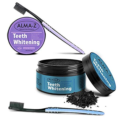 Alma-Z 120 Gram Activated Charcoal Teeth Whitening Powder Kit With Toothbrush Set – Safe Natural Pure Organic Non-Abrasive Teeth Whitener System For Smokers - Braces - 2 PACKS