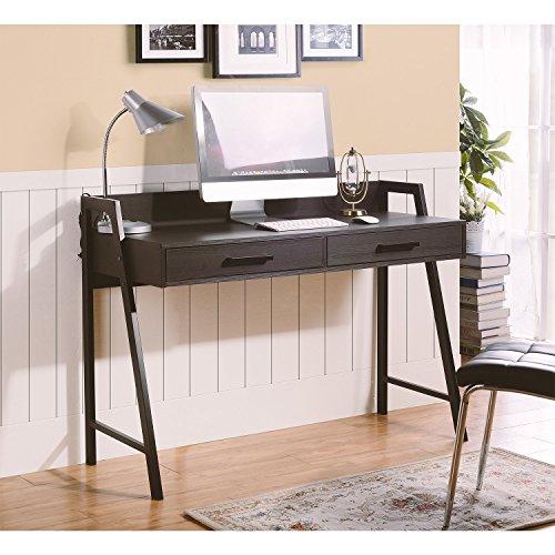 Dark Oak Desk - Homestar Rosalind Writing Desk with 2 Drawers in Dark Oak Finish
