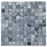 Bardiglio Gray Italian Dark Grey Marble Square Mosaic Tile 1 x 1 Polished