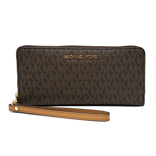 Michael Kors Jet Set Travel Monogram Zip Around Travel Wallet Wristlet (Brown 2018) by Michael Kors