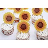 GEORLD Edible Sunflower Cake Topper Cupcake Decoration by Wafer Paper,36 Counts,Flat not 3D