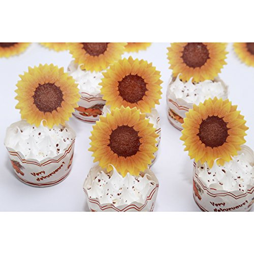 Sunflower Cake Decorations (GEORLD Edible Sunflower Cake Topper Cupcake Decoration by Wafer Paper,36 Counts,Flat not)