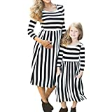 Birdfly Matching Mother Daughter Outfits Casual Striped Maxi Dresses with Pockets Mommy and Baby Girl Fall Clothes for Travel School Photography (4T, Baby Girl)