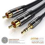 CSL-Computer-Primewire-1m-Cavo-Jack-RCA-Stereo-a-Y-1-x-Jack-35mm-e-2X-RCA-Maschio-Serie-Premium-HQ-garantito-a-Vita