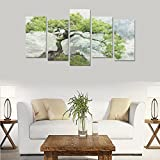 Hotel or Spa Wall Decorations Natural Bonsai Pine Rooms Wall Paintings Living Room Canvas Prints Fashion Personalities Decor 5 Piece Canvas painting (No Frame)