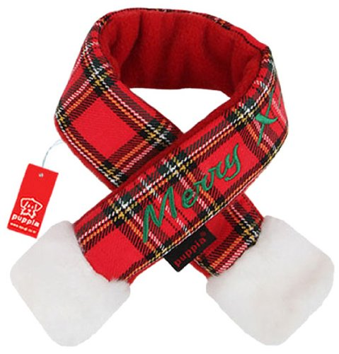 Puppia Santa Claus Scarf, Small, Checkered (Puppia Santa)