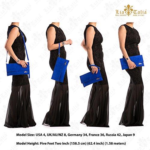LIATALIA Party Clutch Wedding Beige Leather Italian CHERYL Bag Real Light Womens Purse Ladies Handbag Suede Wristlet r8Uqra0