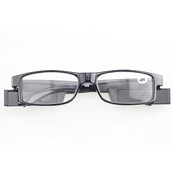 405dbec482 Fuerza Multi LED gafas de lectura soporte para gafas, diseño de espectáculo dioptrías  lupa Light Up Presbyopic gafas gafas de lectura negro + 2.5: ...