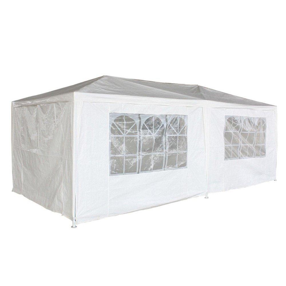 SAILUN® 3 x 6 m Bianco Padiglione da Giardino Tenda da Giardino Padiglione Tenda da Birra, telone Impermeabile PE, 6 pareti Laterali, 4 finestre, 2 Porte con Cerniera