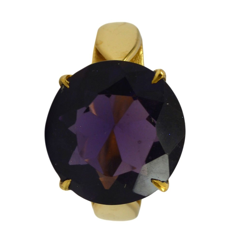 Amethyst CZ Gold Plated Ring For Women February Birthstone Round Shape Size 5,6,7,8,9,10,11,12