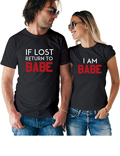 If Lost Return to Babe & I Am Babe Matching Couple T Shirts - His and Hers Custom Shirts - Couples Outfits for Him and Her
