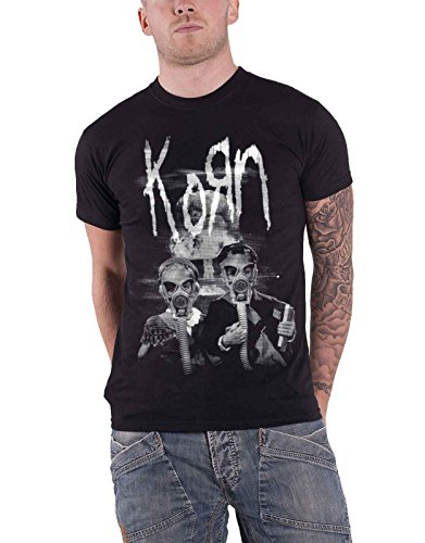 - Korn T Shirt Gas Mask Kids Explosion Contrast Band Logo Official Mens Black