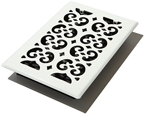 Decor Grates FSH610-WH Scroll Floor Register, 6-Inch by 10-Inch, (White Floor Register)