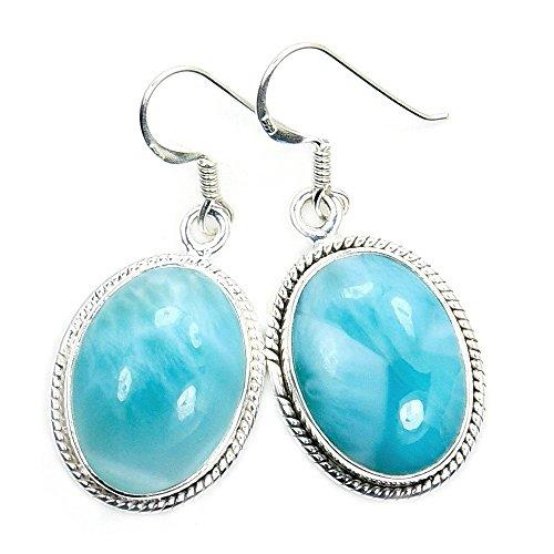 Stunning Sterling Silver Genuine Dominican Larimar Dangle Earrings