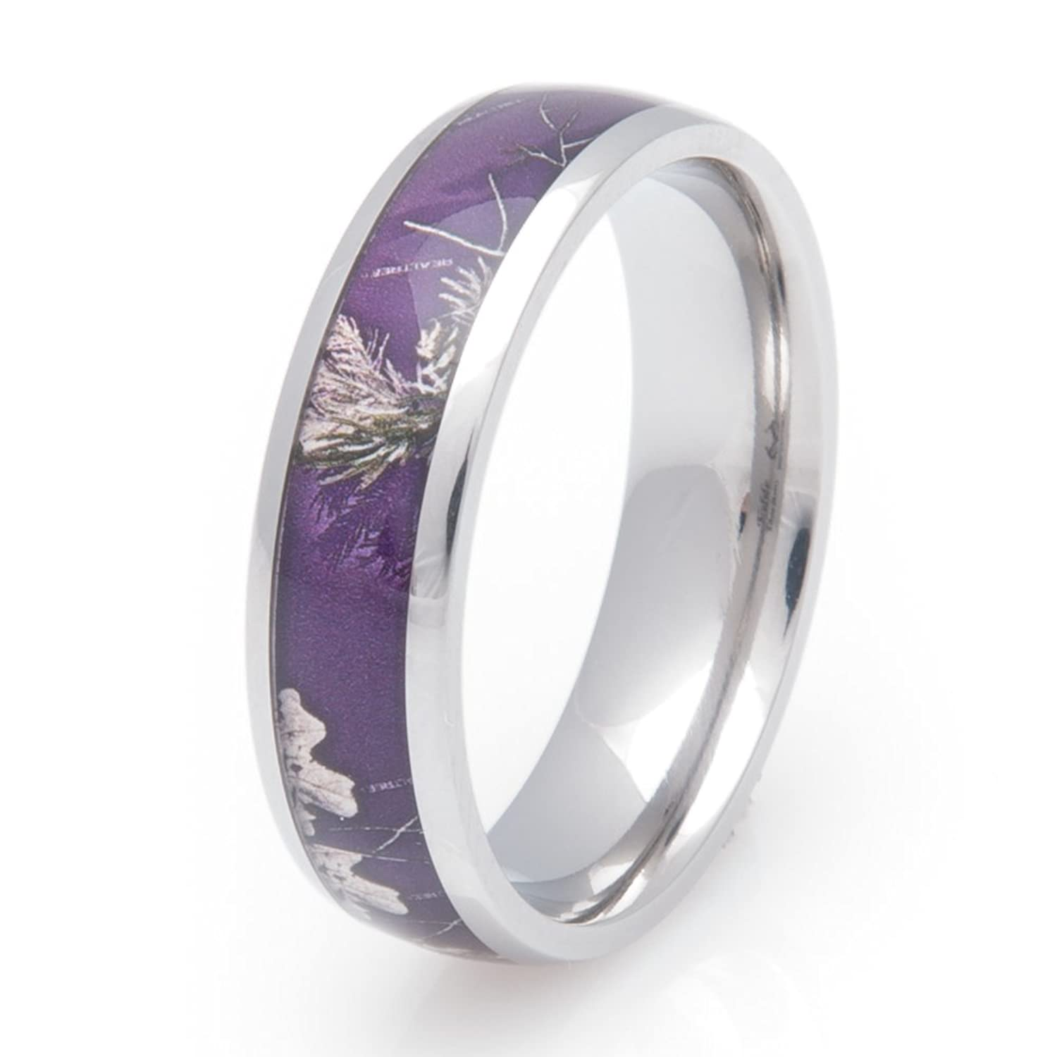 Amazon: Womens Titanium Realtree Ap Purple Camo Wedding Band, 6mm Fort Fit: Jewelry