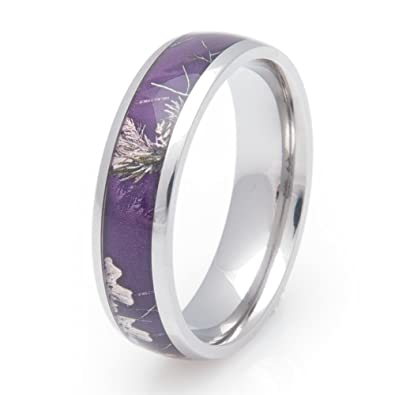 Amazoncom Womens Titanium Realtree AP Purple Camo Wedding Band
