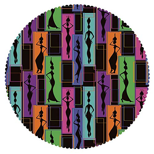 Geometric Greek Vases - iPrint Mildew Resistant Round Tablecloth [ African Woman,Colorful Abstract Geometric Pattern Frames with Women Carrying Vases on Heads,Multicolor ] Home Accessories