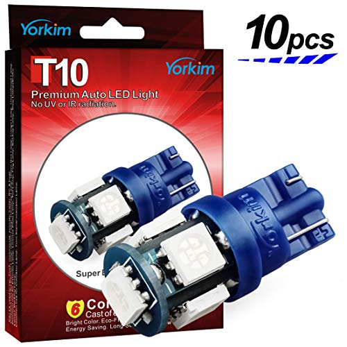 Yorkim 194 LED Bulbs Blue 6000k Super Bright Newest 5th Generation Universal Fit Pack of 10, T10 LED Bulbs, Blue 194 LED Bulb, 168 LED Bul, 2825 LED Bulb, W5W LED Bulb, T10 LED Interior Lights for Car
