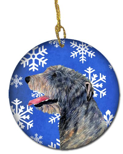 3 in Carolines Treasures SS4644-CO1 Irish Wolfhound Winter Snowflakes Holiday Christmas Ceramic Ornament SS4644 Multicolor