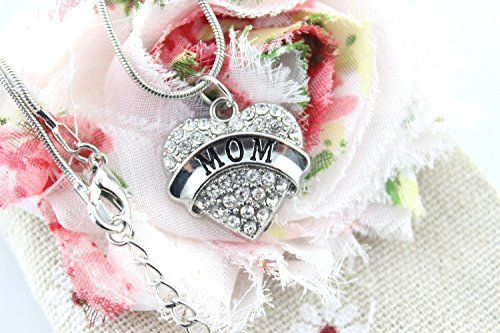 HI-BOOM Mother's Day Gift for Mom Necklace Engraved Gift Jewelry For Mom Crystal Adorned Heart Shaped Pendant Snake Chain Necklace Gift for Mom or Grandma Colorless