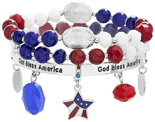 Bay Studio God Bless America Bracelet Set Red/White/Blue Multi Bay Studio Set Bracelet