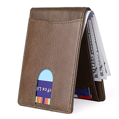 (Men's Slim Leather Wallet Small Billfold Hidden Card Front Pocket Wallet with RFID Blocking Brown)