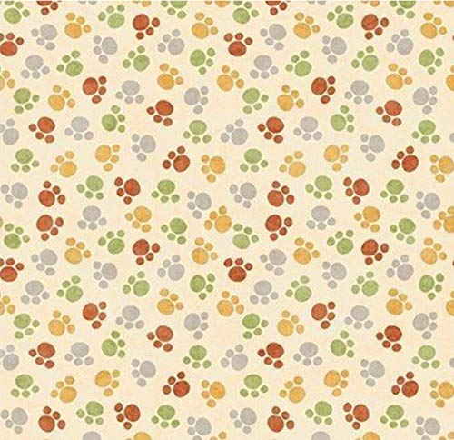 Paw Prints Cream Jungle Buddies Quilting Treasures Cotton Fabric by Yard