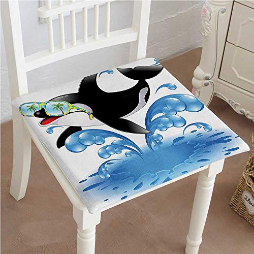 Mikihome Classic Decorative Chair pad Seat Summer Holiday Ocean Cute Jumping Killer Whale with Sunglasses Cartoon Animal Love Theme Cushion with Memory Filling 22''x22''x2pcs by Mikihome