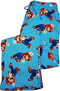 Nintendo Men's Lounge Pants Sleep Bottoms Super Mario Bros Print Cotton
