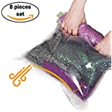 8 Travel Space Saver Storage Bags for Clothes - No Vacuum or Pump Needed - Reusable Packing Sacks