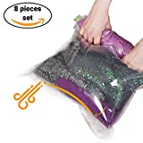 reusable vacuum storage bags - 8 Travel Space Saver Storage Bags for Clothes - No Vacuum or Pump Needed - Reusable Packing Sacks