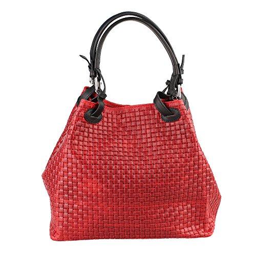 Mujer bolso con correa de hombro en cuero genuino trenzado patrón hecho en Italia Chicca Borse 34x29x18 Cm rojo