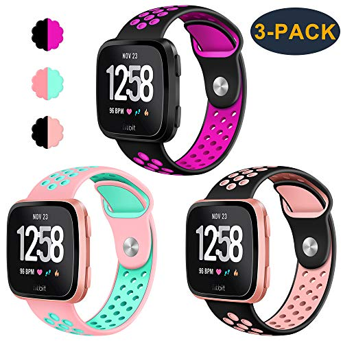 CAVN 3-Pack Compatible Fitbit Versa Bands for Men Women, Sweat Resistant Replacement Accessory Strap Bracelet Compatible Fitbit Versa Smartwtach (S/5.5