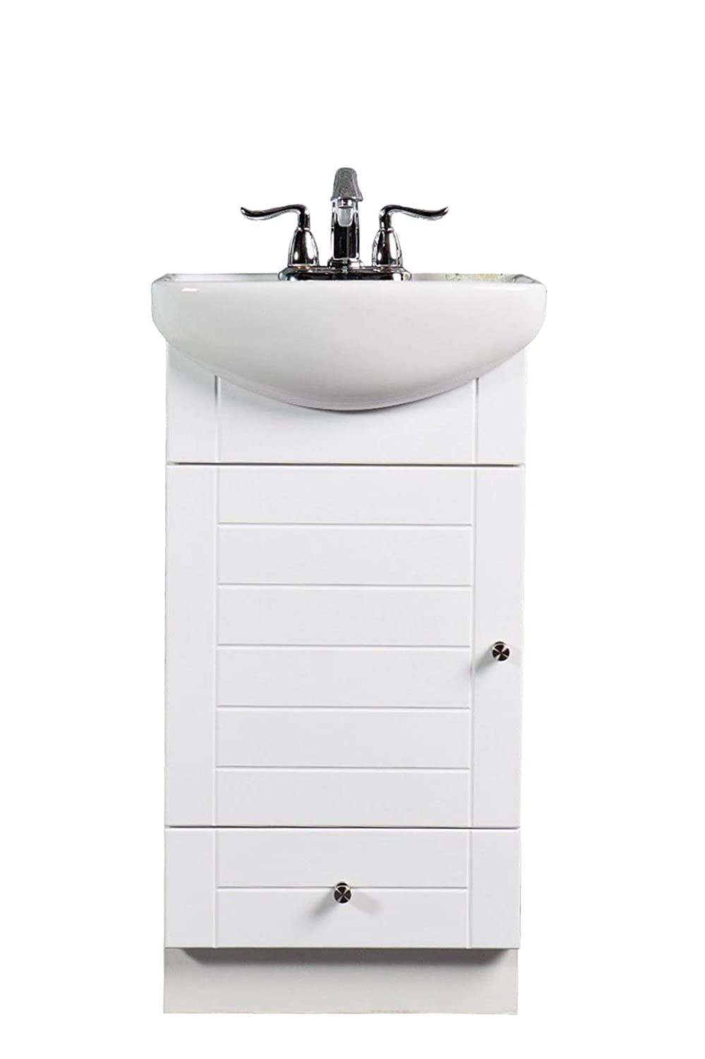 Vanity For Small Bathroom SMALL BATHROOM VANITY CABINET AND SINK WHITE - PE1612W NEW PETITE VANITY -  - Amazon.com
