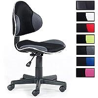 IDIMEX Chaise de Bureau pour Enfant Alondra Fauteuil pivotant avec Hauteur réglable, revêtement en Mesh Noir/Gris
