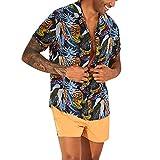 iHPH7 Mens Hawaiian Print Button Down Shirt Turn Down Collar Short Sleeve Loose Casual Shirt Top (XXXL,1- Navy)