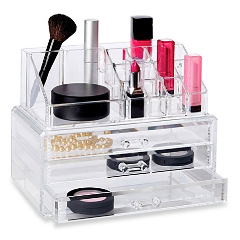 Deluxe 2-Piece 3 Drawer Cosmetic Organizer Set, 9.5