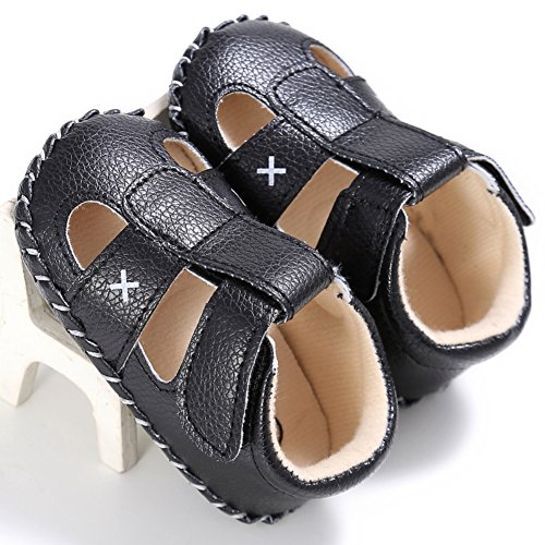 BOBORA Bebe Binos Sandalias Suave PU Cuero Antideslizante Zapatos De Verano negro