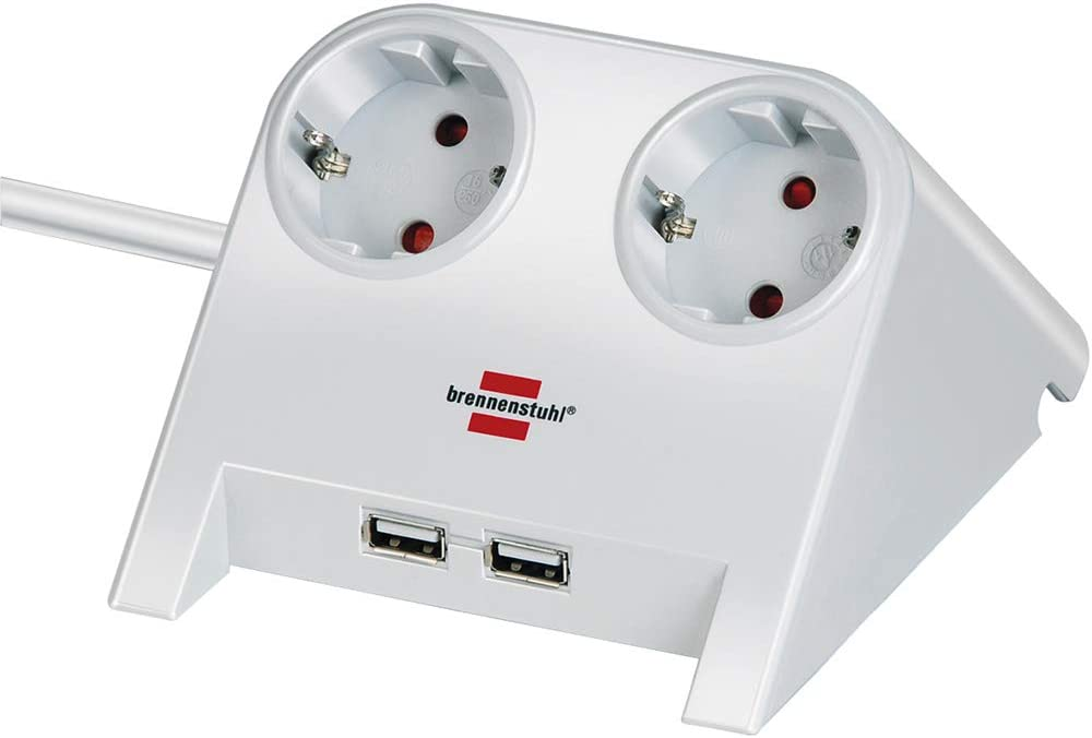 Brennenstuhl Desktop Power Steckdosenleiste 2 Fach Für Den Tisch Tischsteckdose Mit 1 8m Kabel Gummifüßen Und 2 Fach Usb Weiß Poliert Baumarkt