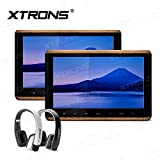 XTRONS 2 x 10.2 Inch Pair HD Digital TFT Screen Touch Panel 1080P Video Car Active Headrest DVD Player New Version IR Headphones(Black&White)