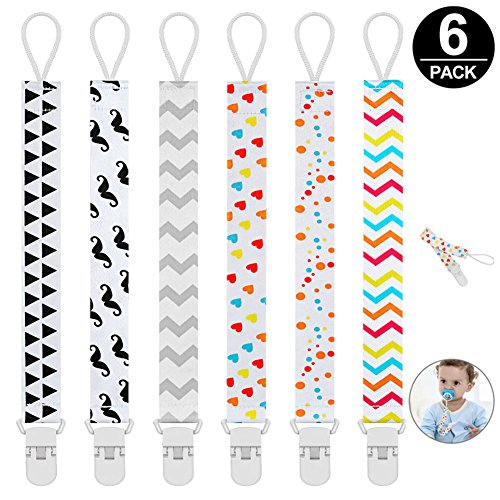 Pacifier Clip for Girl and Boys,Pack of 6 Universal Baby Pacifier Holder Clip Holder Leash for Pacifiers Teething Toy or Soothies,Safety Baby Gift by Mopoin - No Metal Parts