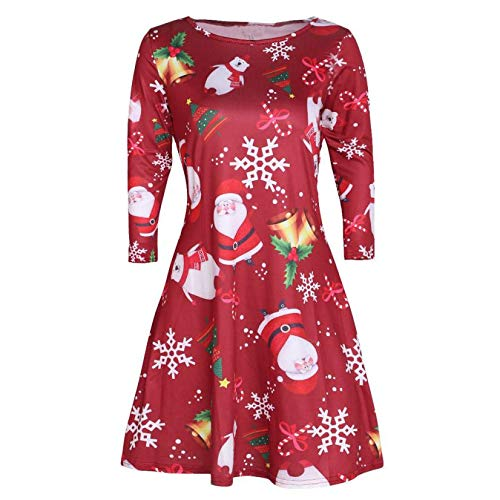 Christmas Mini Dresses for Women,Sunyastor Women's Christmas Pullover Flared A Line Dress Snowman Party Evening Dress - Dupioni Gown