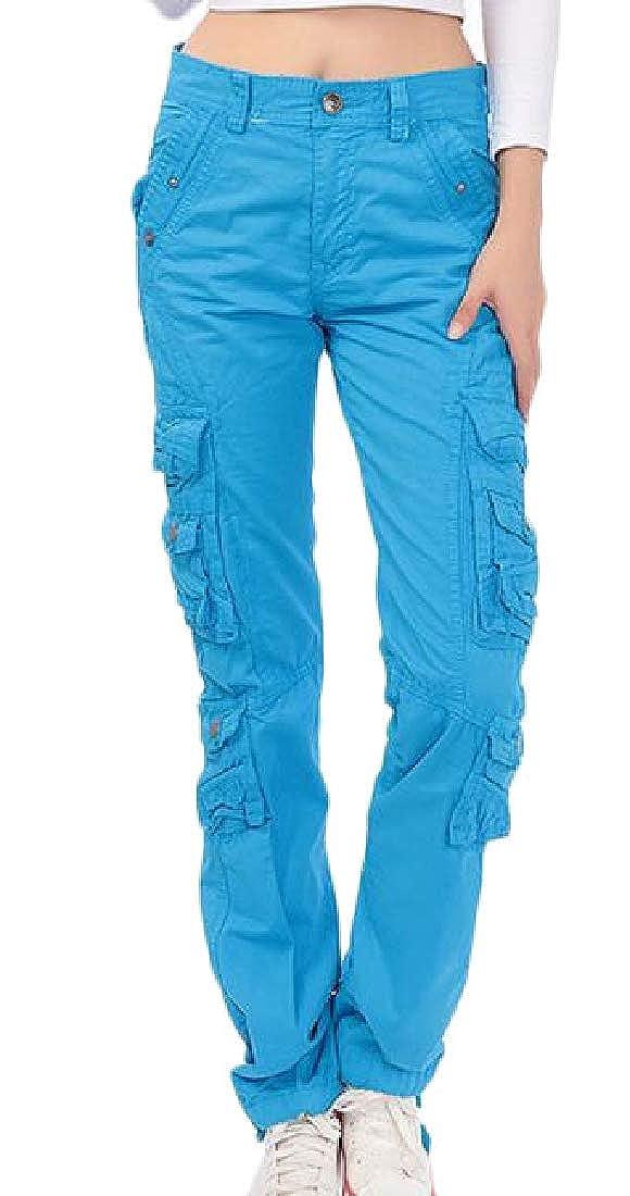 Sky bluee Joe WenkoCA Women's Sport Multi Pocket Outdoor Pure color Ripstop Casual Cargo Pants